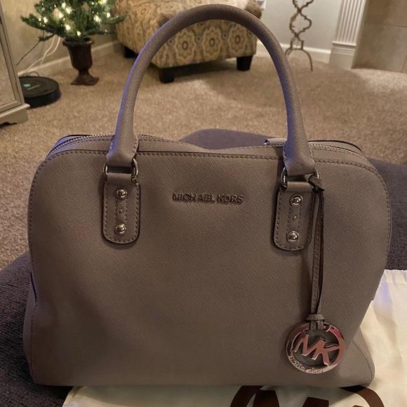 Michael Kors Grey Saffiano Leather Dome Handbag